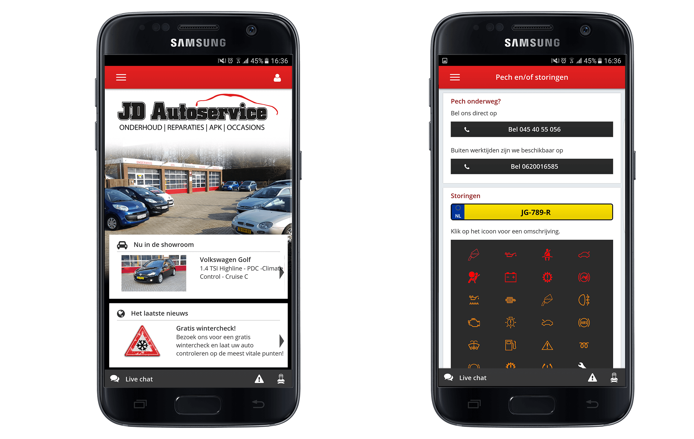 Zoom in op de JD Autoservice app